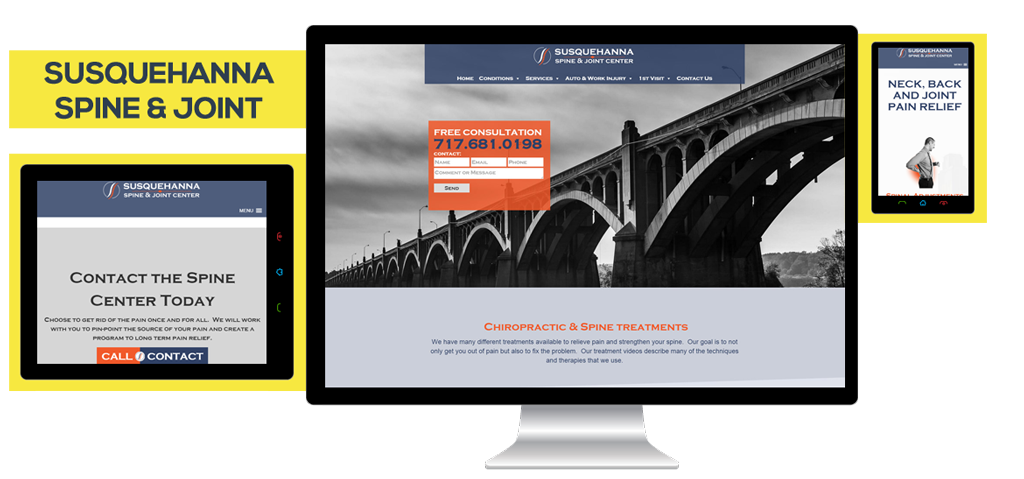 website design for Susquehanna spine and joint center